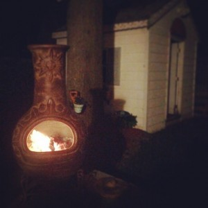 Saturday night with my beautiful wife and new chiminea Cheers!